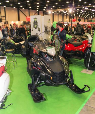 Black Panther snowmobile. Motorcycles and motoconcepts presented at St. Petersburg Motor Show.