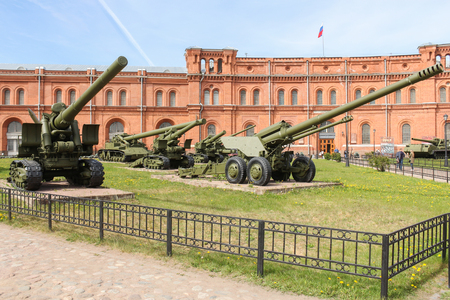 Long-range artillery systems. Military History Museum of combat equipment in St. Petersburg Petersburg.