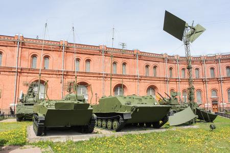 Military radio tracking equipment. Military History Museum of combat equipment in St. Petersburg Petersburg.