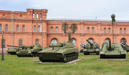 Exhibition of self-propelled artillery. Military History Museum of combat equipment in St. Petersburg Petersburg.