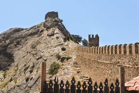 sudak: Stone path to the watch tower. Genoese ancient fortress near the city of Sudak.
