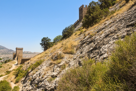 sudak: Fortress on a hill. Genoese ancient fortress near the city of Sudak. Stock Photo
