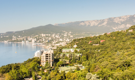Surroundings and adjacent areas of the hotel Yalta Intourist. Stock Photo