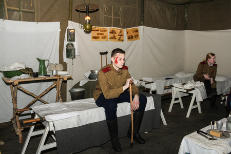 Expositions of fragments of the military field hospital at the Lenrezerv exhibition.