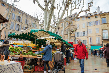 The food market on the square in Aix-en-Provence.