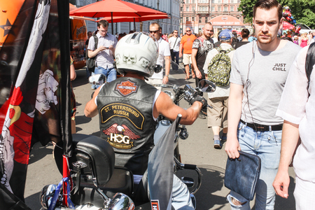 The annual Harley Davidson Motofestival on the street of the architect Rossi and Ostrovsky Square in St. Petersburg. Editorial