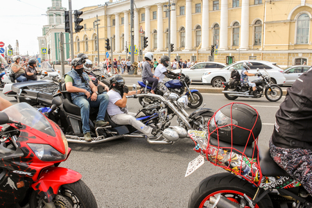 Parade of Harley Davidson in the historical center of St. Petersburg.