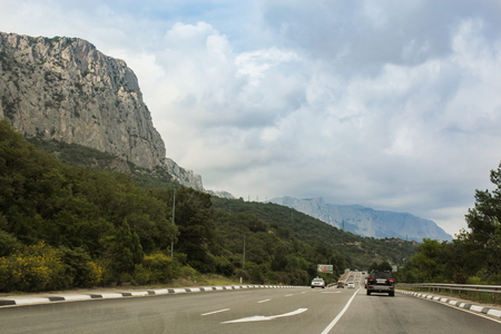 Views from the window of a moving car on the roads of the Crimea.