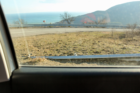 Crimean views from the car window at the junction of winter and spring.