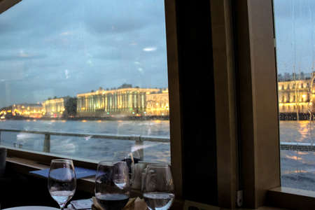 Views of the Neva from the window of a floating restaurant.