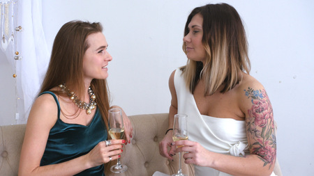 Charming girlfriends at the party laugh with glasses in their hands.. HD