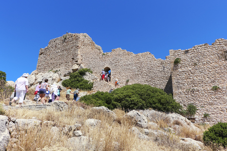Medieval fortress in Greece on the island of Rhodes on the coast of the Mediterranean Sea. Stock Photo