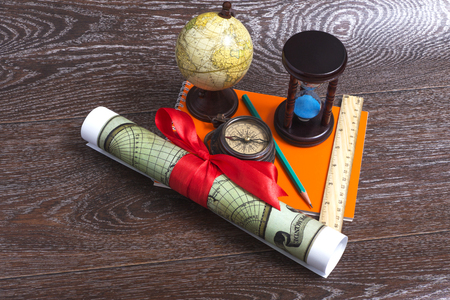 map pencil: Tools traveler - Compass, globe, map, pencil, ruler.