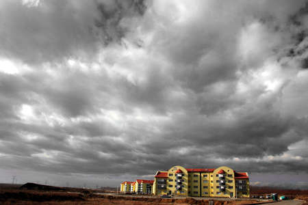 appalling: Architecture-dwelling-house, bloks of flats and a playground in suburbs Stock Photo