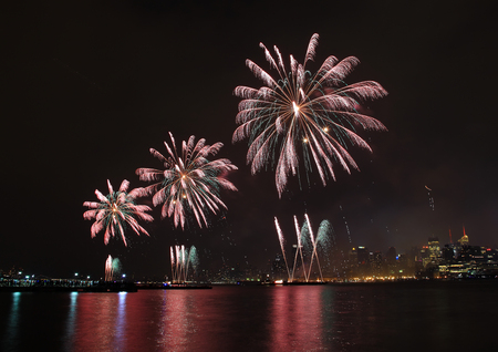 Fireworks on Fourth of July seen from Hoboken riverfront  photo