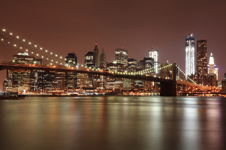 Brooklyn Bridge and NYC Skyline at Night  photo