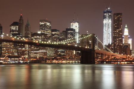 Brooklyn Bridge with Freedom Tower, NYC photo