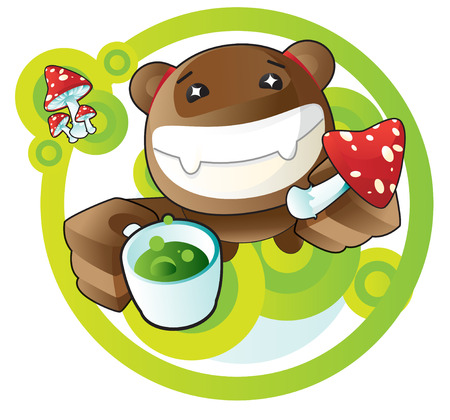 Bear with cup of mushroom tea