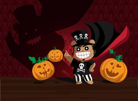 Helloween bear and angry pumpkins