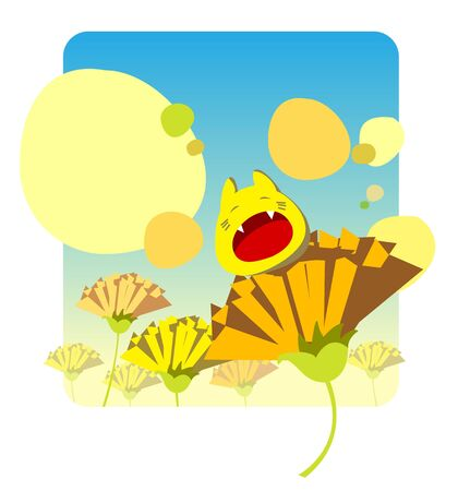 Gaping creature is sitting on a flower in a field and making bubbles in the sky Stock Photo