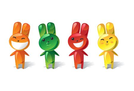 Set of emotional jelly rabbits  Stock Photo