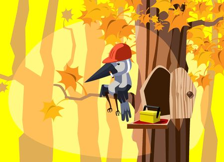 Woodpecker builder taking a pause during the work on a sunny autumn day
