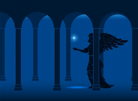 Angel in the gallery of the castle with a star Stock Vector - 16259697