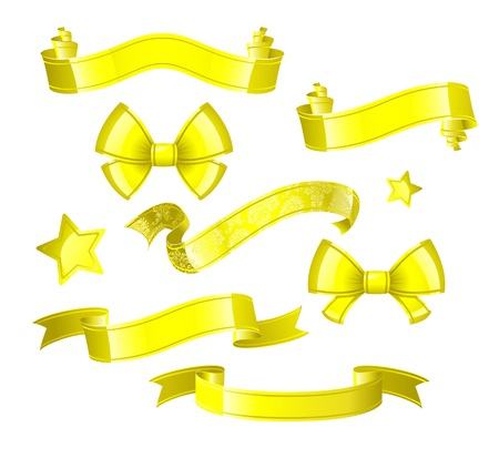 Gold bandiers, ribbons, stars and bows Illustration