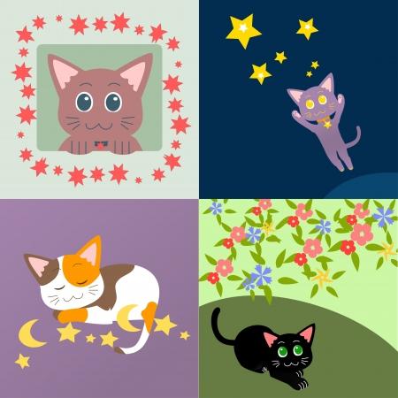 Set of decorative cats - jumping, sleeping, curious