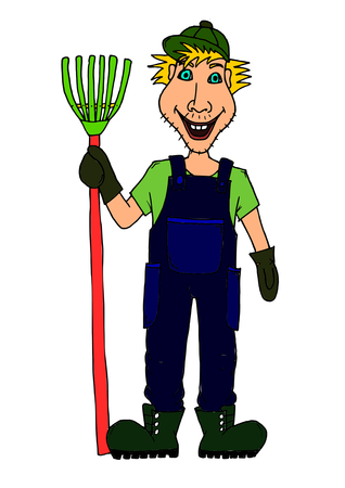 uniform green shoe: Farmer villager with rake Illustration