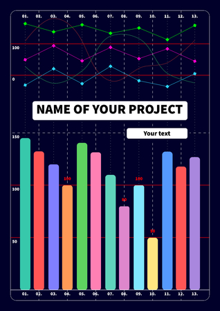 graphical chart: Cover template with grafs statistics Illustration