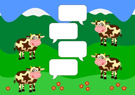 green fields: Chat background with cows on green fields Illustration