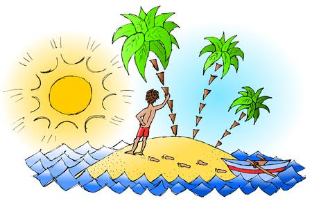 Man enjoys a summer lonely island