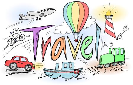 air baloon: Sketchy travel grafitty title rainbow