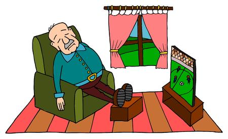 abuelo lindo que duerme en el sofá con el fútbol en la TV
