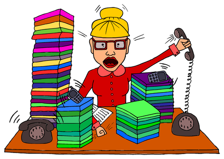 too much: Angry bussy secretary with lot of work