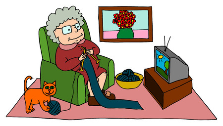 old person: Cute grandma knitting while sitting on armchair