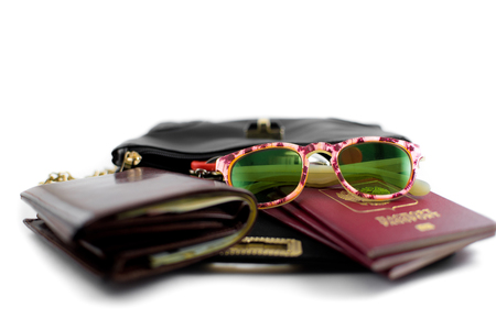 photo handbags for travel with a purse, sunglasses, passports