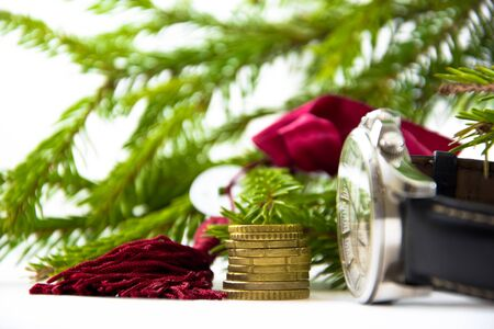 Feng Shui: one coin and the key on the background branches fir green and a stack of coins on white background