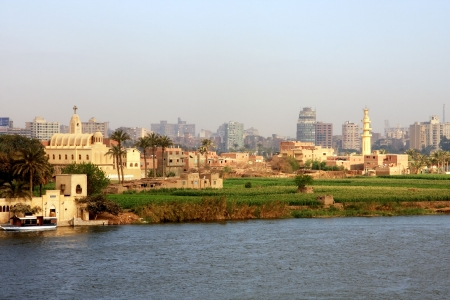 east river: Townscape Cairo from the river Nile bridge Stock Photo
