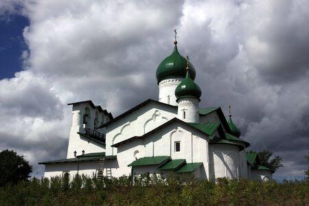 Christian church from a white stone. Pskov photo