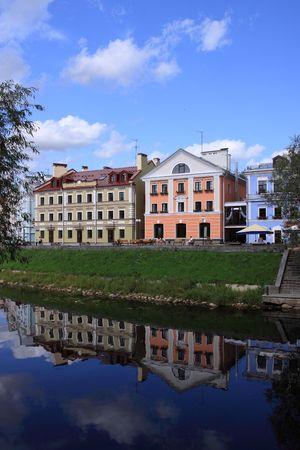 Hotels on river bank of Pskov opposite to the Kremlin photo