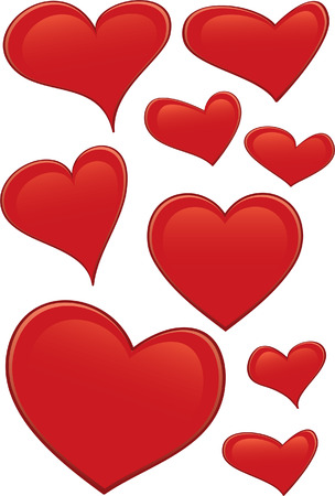 Hearts - 9 vector illustrations