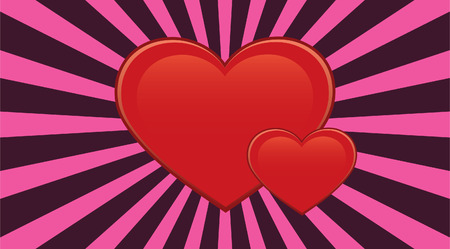Red hearts and pink sunburst background