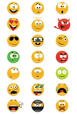 Set of 21 smiley vector illustrations