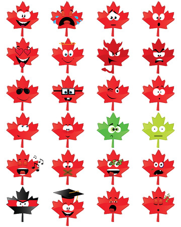 Maple-leafs-shaped smiley faces Illustration