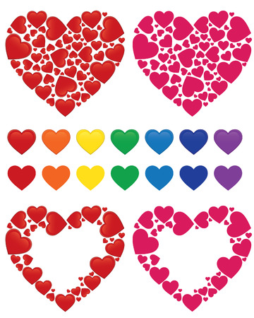 Heart mosaic, heart frame and set of hearts colored with rainbow colors - illustrations Illustration
