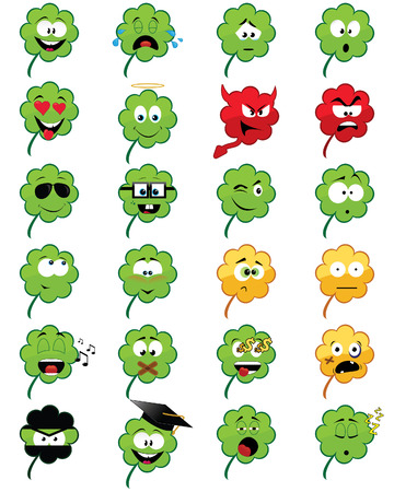 Collection of 24 clover-shaped smiley faces - illustrations