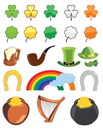 Collection of St. Patricks day icons  illustrations Stock Vector - 6398487