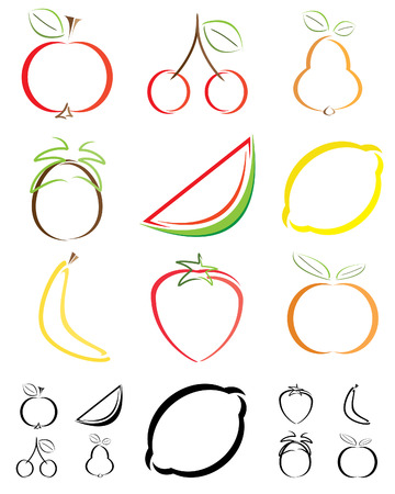 Abstract fruit shapes - illustrations Illustration